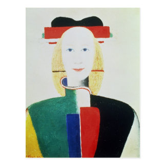 El chica con el gorra postal