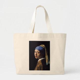 El chica con el pendiente de la perla por Vermeer Bolsa Tela Grande