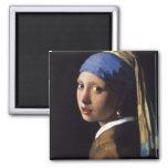 El chica con el pendiente de la perla por Vermeer Imán Cuadrado