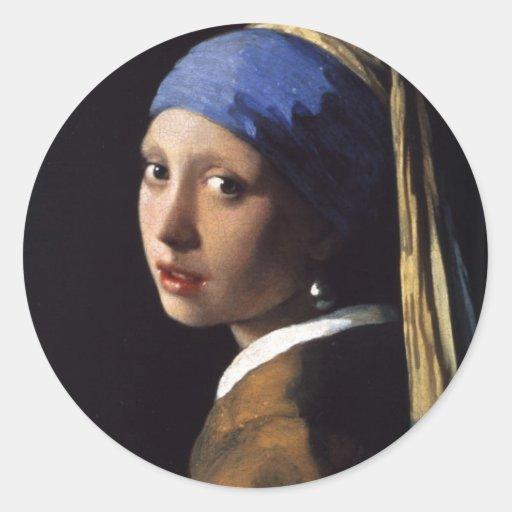 El chica con el pendiente de la perla por Vermeer Pegatina Redonda