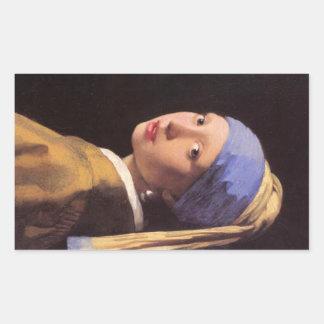 El chica con el pendiente de la perla por Vermeer Rectangular Altavoces