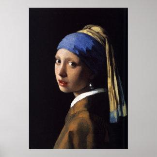 El chica con el pendiente de la perla por Vermeer Póster