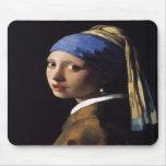 El chica con el pendiente de la perla por Vermeer Tapetes De Ratones