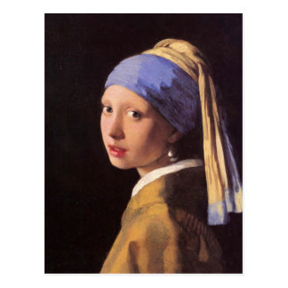 El chica con el pendiente de la perla por Vermeer Tarjeta Postal