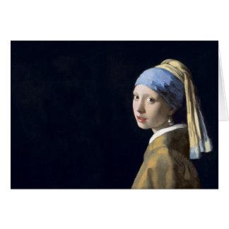 El chica con el pendiente de la perla tarjeta de felicitación