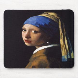 El chica con el pendiente Juan Vermeer de la perla Alfombrillas De Ratón