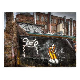 El chica con los guantes anaranjados, pintada de tarjeta postal
