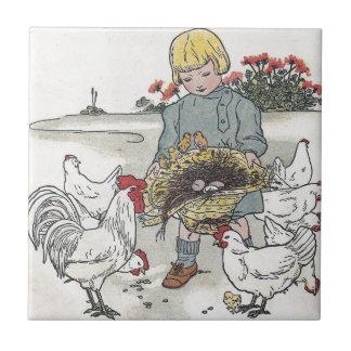 El chica con los pollos, E del vintage es un huevo Azulejos