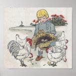 El chica con los pollos, E del vintage es un huevo Poster