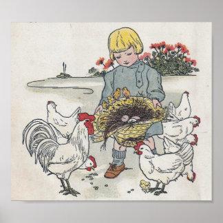 El chica con los pollos, E del vintage es un huevo Póster