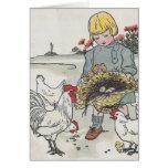 El chica con los pollos, E del vintage es un huevo Tarjeton