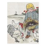 El chica con los pollos, E del vintage es un huevo Postal