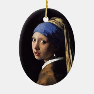 El chica con un pendiente de la perla de Juan Adorno Navideño Ovalado De Cerámica
