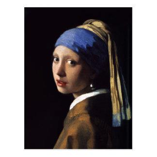El chica con un pendiente de la perla de Juan Postales
