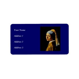 El chica con un turbante/un chica con el pendiente etiquetas de dirección