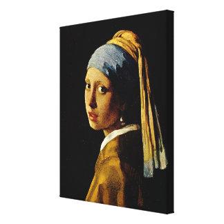 El chica con un turbante/un chica con el pendiente impresión en tela
