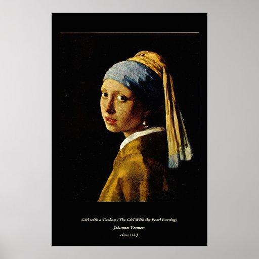 El chica con un turbante/un chica con el pendiente poster