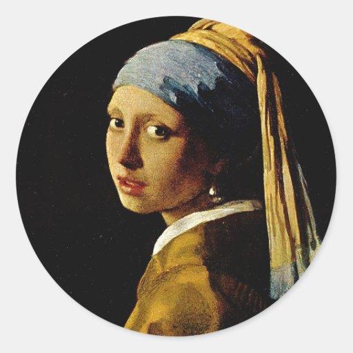 El chica con un turbante/un chica con el pendiente pegatina redonda