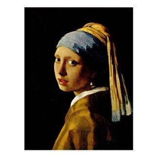 El chica con un turbante/un chica con el pendiente tarjetas postales