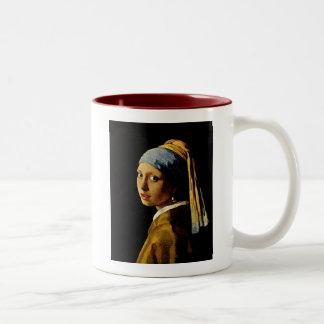 El chica con un turbante/un chica con el pendiente tazas