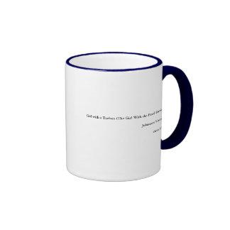El chica con un turbante/un chica con el pendiente tazas de café
