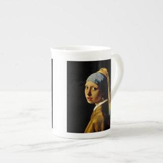 El chica con un turbante/un chica con el pendiente tazas de porcelana