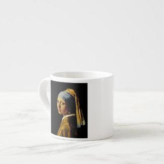 El chica con un turbante/un chica con el pendiente tazitas espresso