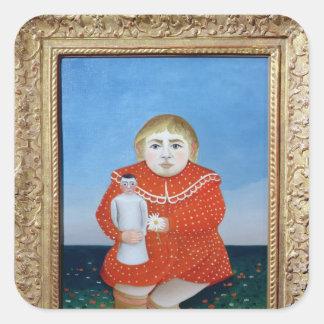 El chica con una muñeca, un c.1892 o un c.1904-05 pegatina cuadrada