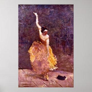 El chica de baile por Toulouse-Lautrec Póster