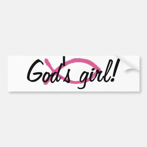 ¡El chica de dios! Pegatina para el parachoques Etiqueta De Parachoque