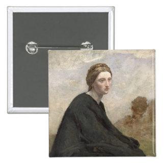 El chica de empollamiento, c.1857 pin cuadrado