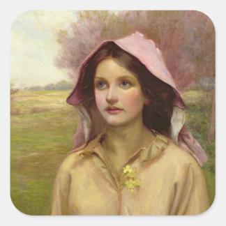 El chica de la primavera pegatina cuadrada