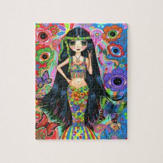 El chica de la sirena del Hippie con el ojo florec Puzzle