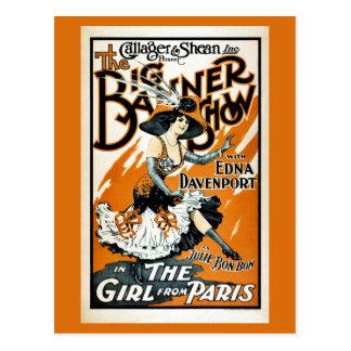 El chica de París, poster del musical del vintage Tarjetas Postales