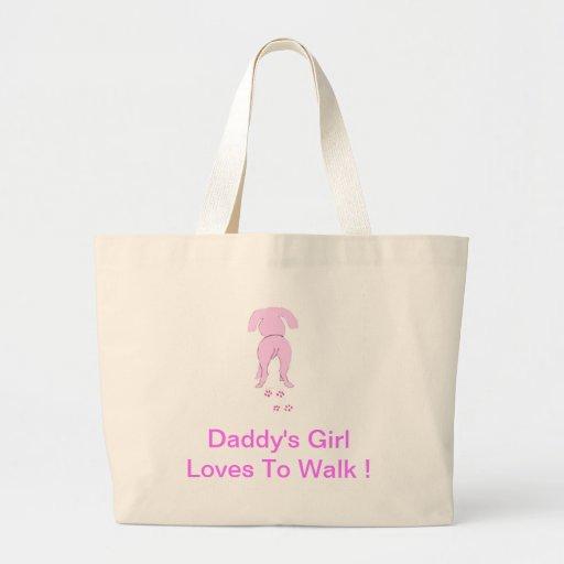 El chica de perro de los oídos del papá rosado aba bolsa de mano