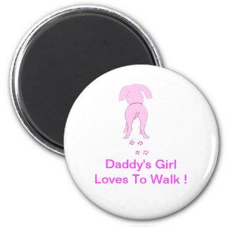 El chica de perro de los oídos del papá rosado aba imán redondo 5 cm
