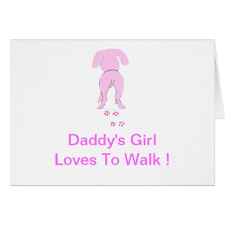 El chica de perro de los oídos del papá rosado aba tarjeta de felicitación