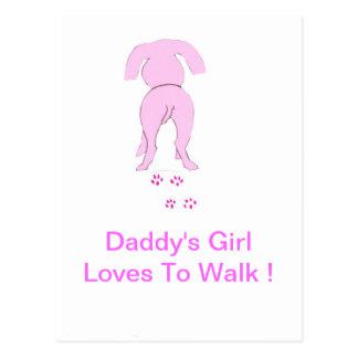 El chica de perro de los oídos del papá rosado tarjetas postales