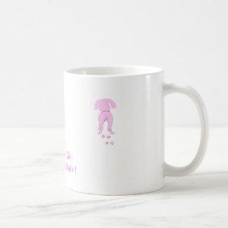 El chica de perro de los oídos del papá rosado taza básica blanca
