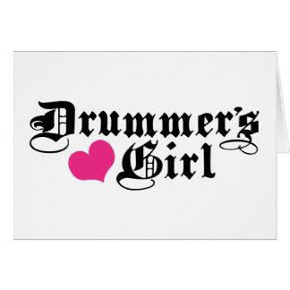 El chica del batería tarjeta de felicitación