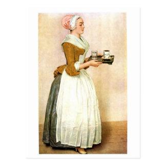 El chica del chocolate, pintura de la bella arte tarjeta postal
