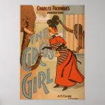 El chica del circo - elefante y mono de alimentaci posters