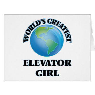 El chica del elevador más grande del mundo tarjetón