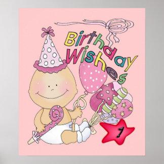 El chica del feliz cumpleaños desea de 1 año posters