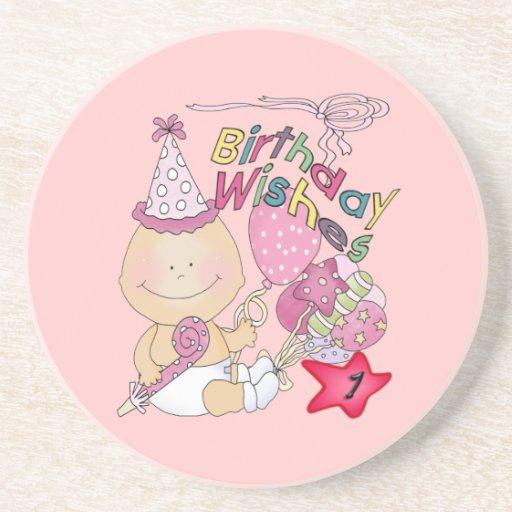 El chica del feliz cumpleaños desea de 1 año posavaso para bebida