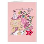 El chica del feliz cumpleaños desea de 1 año tarjeta