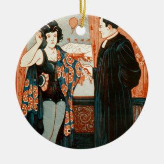 El chica del globo un drama de la comedia de la adorno redondo de cerámica