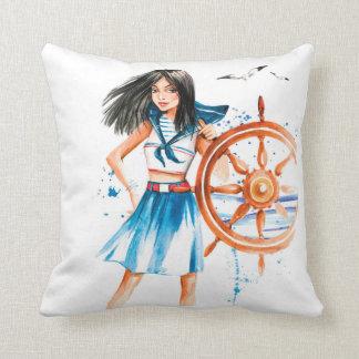 el chica del marinero del vintage envía el cojín decorativo