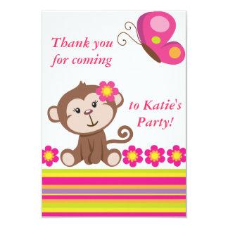 El chica del mono (rosa) le agradece observar invitación 8,9 x 12,7 cm