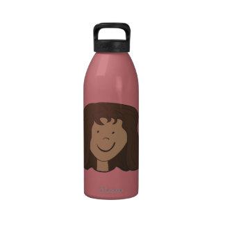 El chica del papá lindo de la piel del dibujo anim botella de beber